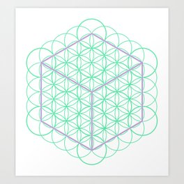 Sacred Geometry - glowing energy lines - cube and flowers Art Print