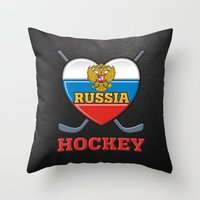hockey Throw Pillows featuring HOCKEY by frail