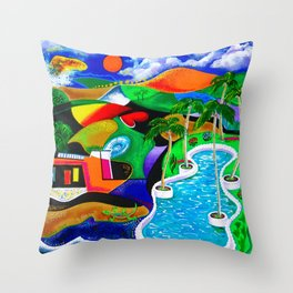Puerto Rico in the Night, Caribbean, Isla del Encanto Throw Pillow