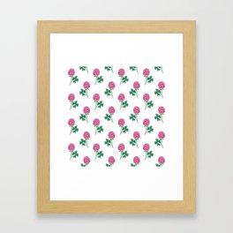 Pink Shamrock Flowers Pattern Framed Art Print