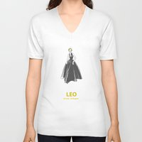 leo V-neck T-shirts featuring Leo by Cansu Girgin