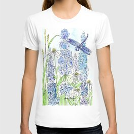 Watercolor Wildflower Garden Dragonfly Blue Flowers Daisies T-shirt