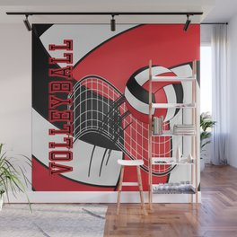 Volleyball Game  - Red Wall Mural