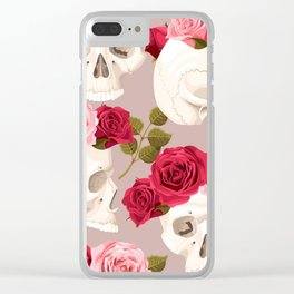 Skull Red Rose Crown Floral Kingdom Sumptuous Fantasy Flower Pattern Clear iPhone Case
