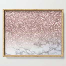 Sparkle - Glittery Rose Gold Marble Serving Tray
