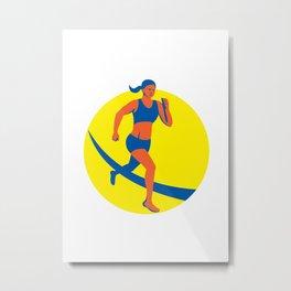Female Triathlete Marathon Runner Retro Metal Print