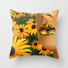 Lips in sunflowers Throw Pillow