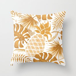Yellow white tropical forest pineapple Throw Pillow