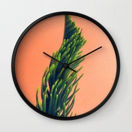 Complementary Colors Green Salmon Pink Against Background Wall Clock