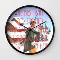 will ferrell Wall Clocks featuring Christmas Cheer / Elf by Earl of Grey