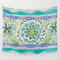boho Wall Tapestries featuring Boho Bloom by Janet Broxon