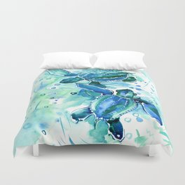 Turquoise Blue Sea Turtles in Ocean Duvet Cover