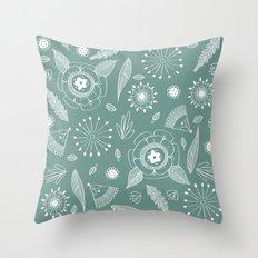 Flora Pattern II Light on Dark Throw Pillow