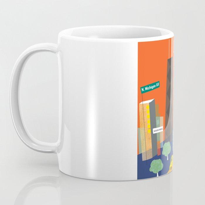 Chicago, Illinois - Skyline Illustration by Loose Petals Coffee Mug