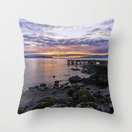 Portencross Jetty Sunset Throw Pillow