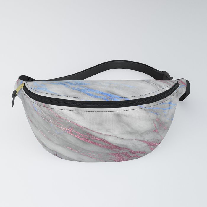 Elegant modern faux rose gold blue abstract marble Fanny Pack