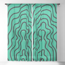 Music Line Vibes Green Blue Sheer Curtain