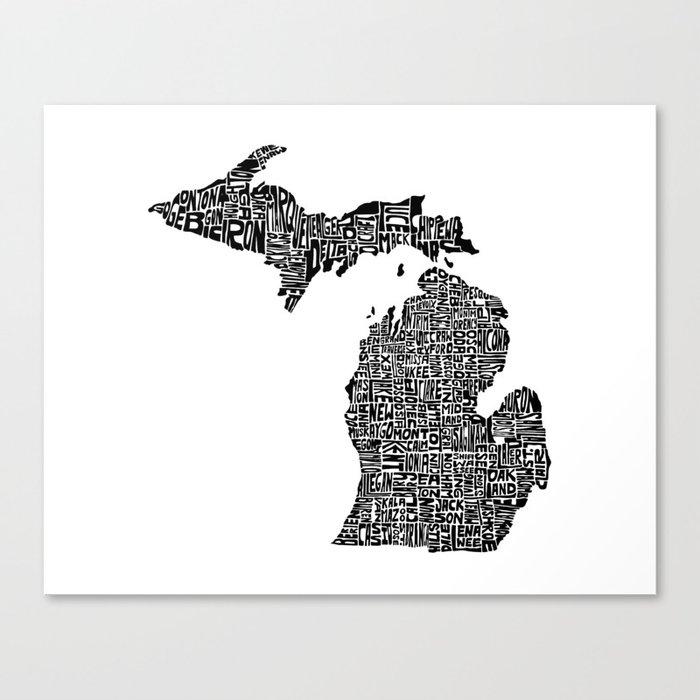 Typographic Michigan Canvas Print
