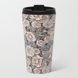 Flowers & Swallows Metal Travel Mug