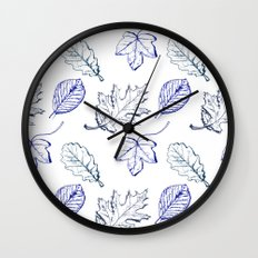 Leaves (navy) Wall Clock