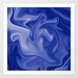 Marble Blues White Art Print