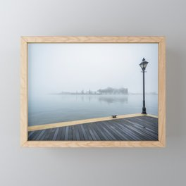 The Waterfront Promenade and Fog Framed Mini Art Print