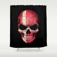 denmark Shower Curtains featuring Dark Skull with Flag of Denmark by Jeff Bartels