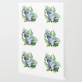 Family of lemurs with tropical leaves watercolor Wallpaper