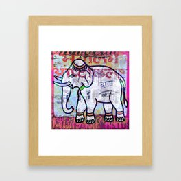 Pink elephant, colourful exotic Indian animal print Framed Art Print