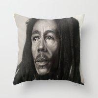 marley Throw Pillows featuring Marley Drawing by Wega13Art