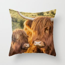 Mother and child. Highland Cows of Scotland....(heilan coo's) Throw Pillow