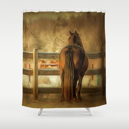 Horse Along a Fence in Snow in Winter. Golden Age Painting Style. Shower Curtain