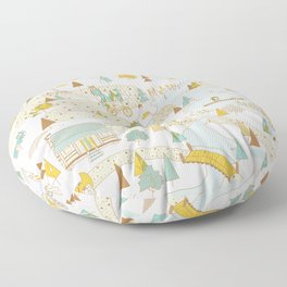 Over the River and Through the Woods Floor Pillow