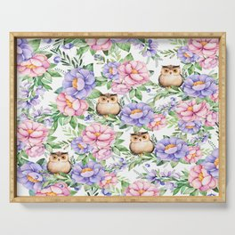 Watercolor hand painted pink lavender brown floral cute owl pattern Serving Tray