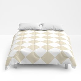 Large Diamonds - White and Pearl Brown Comforters