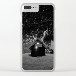 cozy cabin in the woods Clear iPhone Case