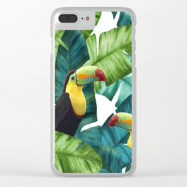Toucans Tropical Banana Leaves Pattern Clear iPhone Case