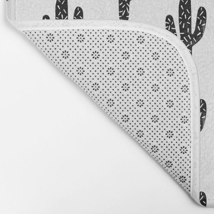 Linocut Cactus black and white minimal modern printmaking trendy hipster canvas dorm college art Bath Mat