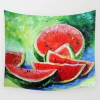 watermelon Wall Tapestries featuring watermelon by OLHADARCHUK