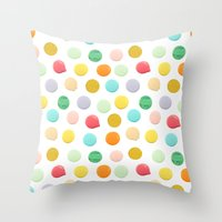 confetti Throw Pillows featuring Confetti by Catalina Montaña