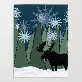 Moose in the Snowy Forest Poster