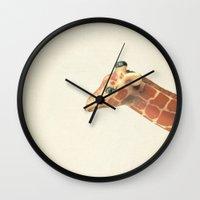 giraffe Wall Clocks featuring Giraffe by Cassia Beck