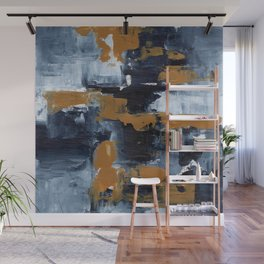 Ejaaz Haniff Abstract Acrylic Palette Knife Painting Paynes Grey White Yellow Ochre: 'Gold Rush' Wall Mural