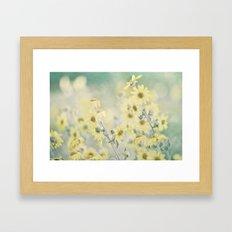 Pastel Wildflowers Yellow Helianthus Daisies -- Botanical Landscape Framed Art Print