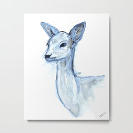 Portrait of a Doe in Blue Metal Print