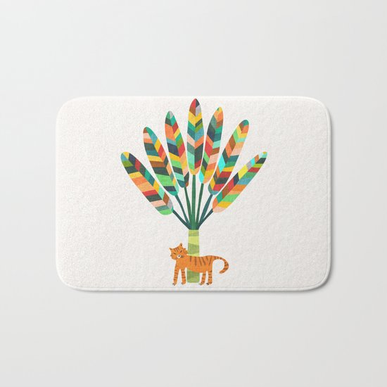 Whimsical travelers palm with tiger Bath Mat