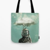 rain Tote Bags featuring Rain by Seamless