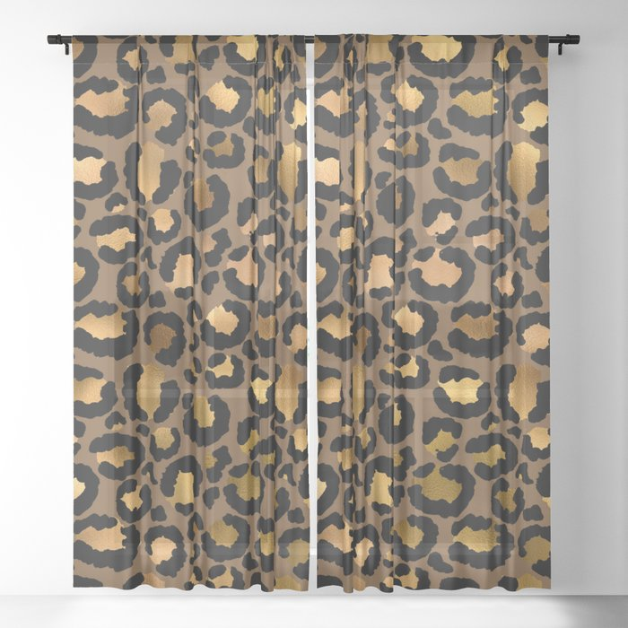 Leopard Metal Glamour Skin Sheer Curtain By Betterhome Society6