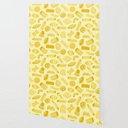 Italian Restaurant Pasta Shapes Food Pattern in Cream Wallpaper