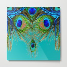 TURQUOISE BLUE-GREEN PEACOCK FEATHERS ART Metal Print